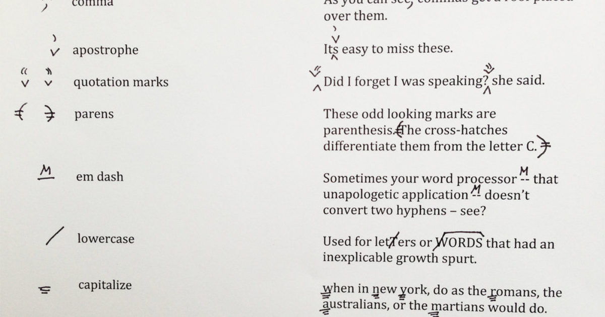 A Guide to Copyediting Marks | NY Book Editors