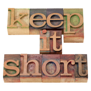 keep it short phrase in vintage wood letterpress printing blocks, isolated on white