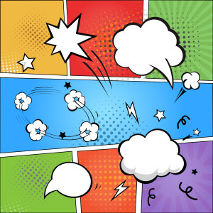 Comic strip and comic speech bubbles on colorful halftone background illustration
