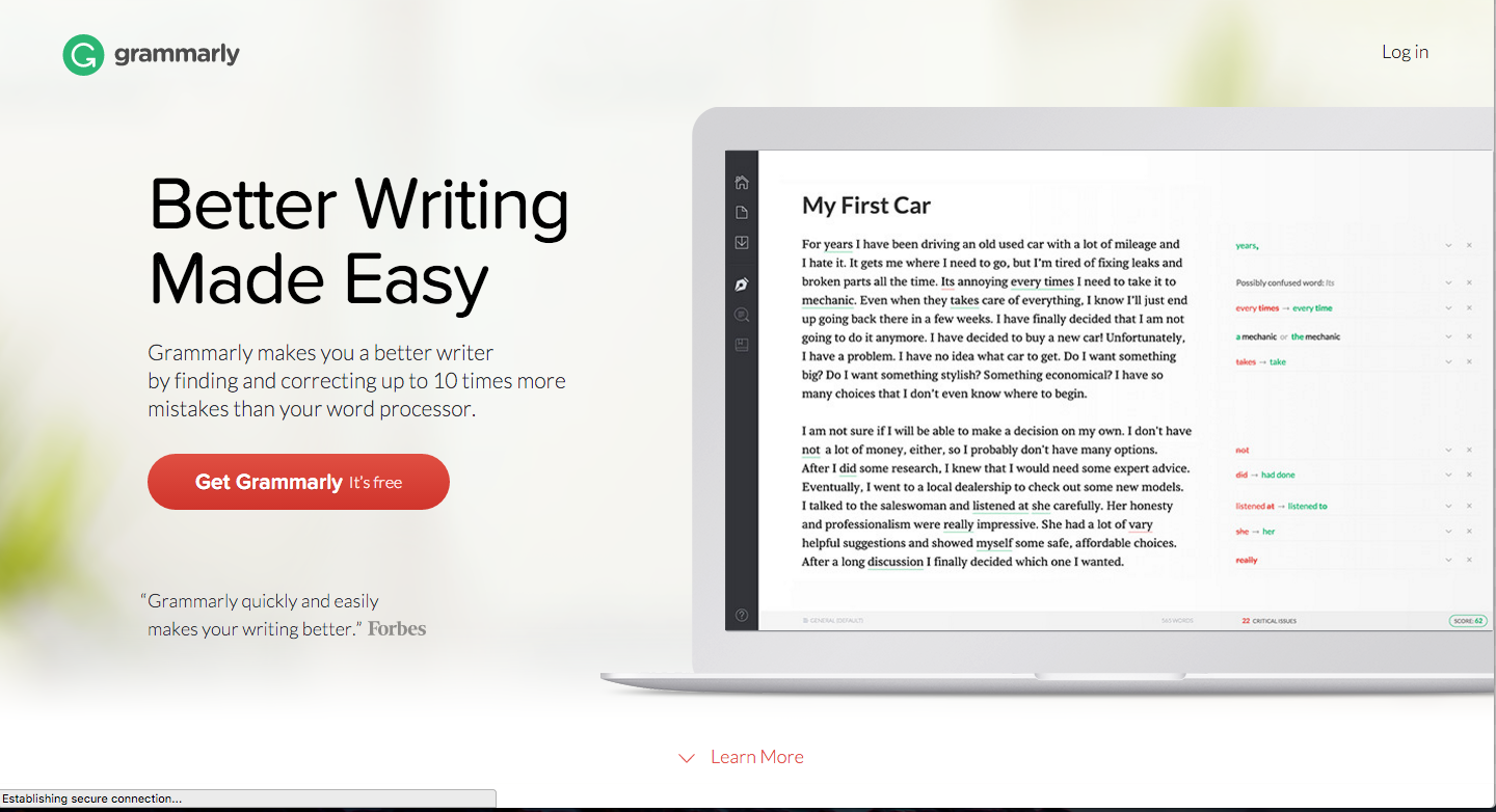 instantly improve your writing these 11 editing tools ny grammarly is an online grammar checker that can search out and destroy your grammar and spelling mistakes it can locate and correct hundreds of error types