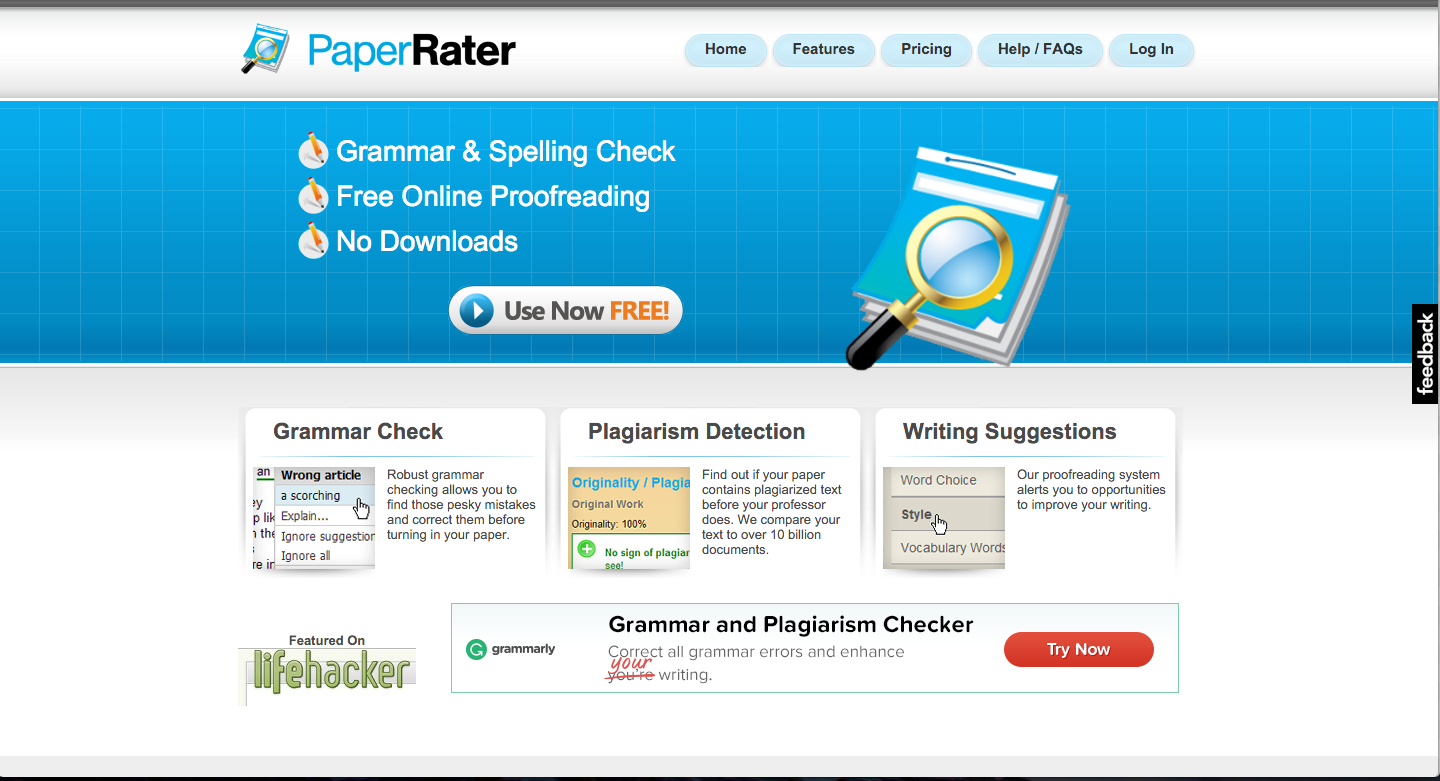 instantly improve your writing these 11 editing tools ny paper rater paperrater is an online grammar and spell checker it does an in depth analysis of your writing paperrater grades your work