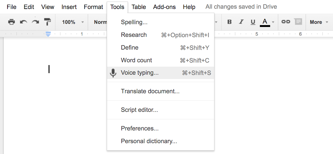 google docs voice